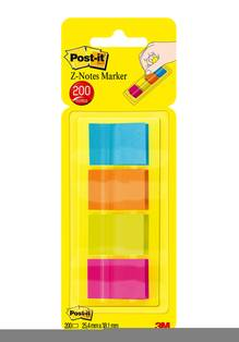Signets Post-it Pop-Up 1x1.5' Ass. Fluo (Paquet de 4)    672-P1-B